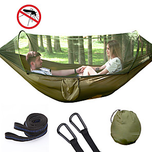 cheap Flashlights & Camping Lanterns-Camping Hammock with Pop Up Mosquito Net Double Hammock Outdoor Automatic Open Hammock Portable Breathable Anti-Mosquito Parachute Nylon with Carabiners and Tree Straps for 2 person 250*120