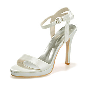 cheap Wedding Shoes-Women's Wedding Shoes Stiletto Heel Open Toe Satin Sweet Spring & Summer White / Champagne / Ivory / Party & Evening