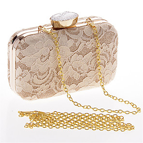 cheap Clutches & Evening Bags-Women's Lace / Chain Polyester Evening Bag Solid Color Black / White / Almond