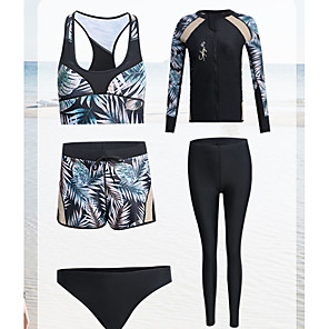 cheap Wetsuits, Diving Suits & Rash Guard Shirts-Women's Rash Guard Dive Skin Suit Diving Suit Anatomic Design Long Sleeve Front Zip 3-Piece - Diving Water Sports Painting Summer / Micro-elastic