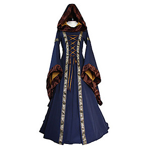 cheap Anime Costumes-Adults' Women's Cosplay Retro Medieval Dress Cosplay Costume For Party Halloween Festival Cotton / Linen Blend Halloween Carnival Masquerade Dress