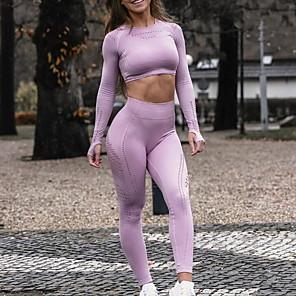 cheap Fitness Gear & Accessories-Activewear Top Ruching Women's Training Long Sleeve Polyester Taffeta