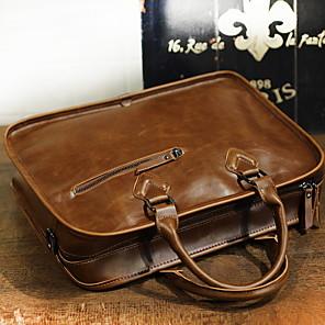 cheap Men's Bags-Men's Zipper PU Top Handle Bag Solid Color Dark Brown