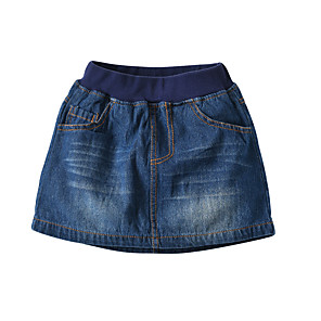cheap OBD-Kids Girls' Basic Street chic Solid Colored Skirt Blue