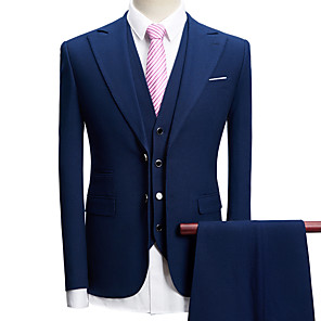cheap Custom Tuxedo-Tuxedos Tailored Fit Peak Single Breasted Two-buttons Polyester Textured / British / Fashion