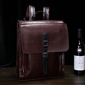 cheap Men's Bags-Men's Zipper PU Top Handle Bag Solid Color Brown