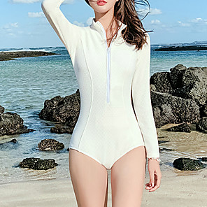 cheap Wetsuits, Diving Suits & Rash Guard Shirts-Women's One Piece Swimsuit Padded Swimwear Swimwear White Black Breathable Quick Dry Comfortable Long Sleeve - Swimming Water Sports Summer / High Elasticity
