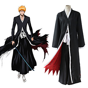 cheap Anime Costumes-Inspired by BLEACH Ichigo Kurosaki Anime Cosplay Costumes Japanese Cosplay Suits Cloak For Men's Women's