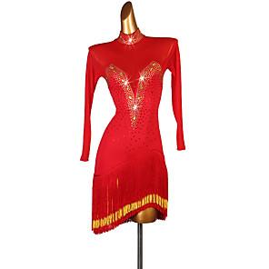 cheap Latin Dancewear-Latin Dance Dress Tassel Crystals / Rhinestones Women's Performance Long Sleeve Spandex