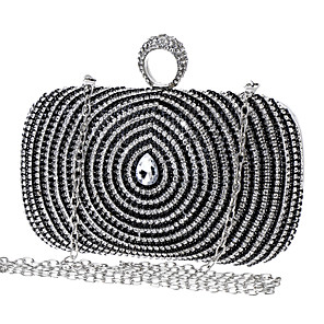 cheap Clutches & Evening Bags-Women's Crystals Polyester / Alloy Evening Bag Color Block Black / Gold / Blue