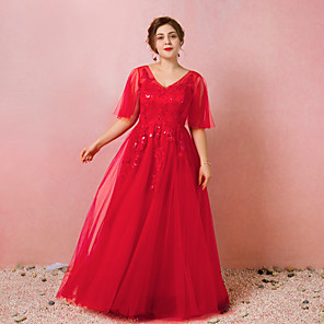 cheap Wedding Wraps-A-Line Plus Size Red Engagement Prom Dress V Neck Half Sleeve Floor Length Satin Tulle with Appliques 2020 / Illusion Sleeve