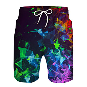 cheap Boys' Pants-Kids Boys' Active Basic Print Color Block Drawstring Shorts Rainbow