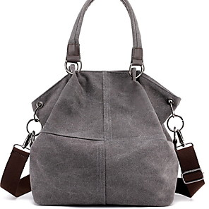 cheap Handbag & Totes-Women's Zipper Canvas Top Handle Bag Solid Color Blue / Brown / Drak Red