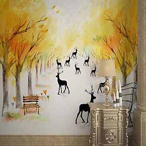 cheap Wallpaper-Custom Self-adhesive Mural Wallpaper Hand-painted Maple Deer Suitable For Bedroom Living Room Coffee Shop Restaurant Hotel Wall Decoration Art