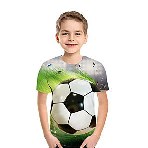 cheap Synthetic Lace Wigs-Kids Boys' Active Street chic Geometric 3D Patchwork Print Short Sleeve Tee Green