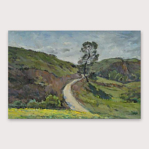 cheap Floral/Botanical Paintings-IARTS®Hand Painted Country road Oil Painting   with Stretched Frame For Home Decoration