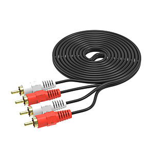 cheap Audio Cables-2RCA Male to 2 RCA Male Audio Video Cable RCA Audio Splitter Cable for DVD Sound TV box Louder 3M