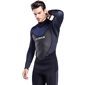 cheap Wetsuits, Diving Suits & Rash Guard Shirts-Men's Full Wetsuit 3mm SCR Neoprene Diving Suit Thermal / Warm Stretchy Long Sleeve Back Zip - Diving Water Sports Solid Colored Autumn / Fall Spring Summer / Winter / High Elasticity