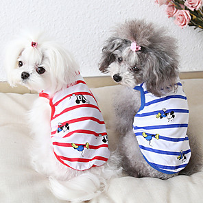 cheap Dog Clothes-Dog Costume Vest Dog Clothes Breathable Red Blue Costume Beagle Bichon Frise Chihuahua Cotton Cartoon Quotes & Sayings Casual / Sporty Cute XS S M L XL