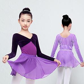 cheap Kids' Dancewear-Kids' Dancewear Skirts Ruching Girls' Training Performance Long Sleeve Spandex