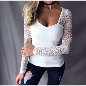 cheap Music Boxes-Women's T-shirt Solid Colored Patchwork Lace Trims Tops White Black Red / Long Sleeve