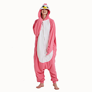 cheap Kigurumi Pajamas-Adults' Kigurumi Pajamas Penguin Onesie Pajamas Flannelette Pink Cosplay For Men and Women Animal Sleepwear Cartoon Festival / Holiday Costumes