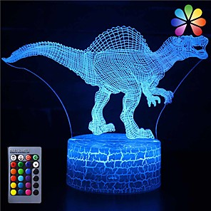 cheap 3D Night Lights-3D Dinosaur Night Light Illusion Lamp 16 Color Change Decor Lamp with Remote Control for Living Bed Room Bar Best Gift Toys for Boys Girls