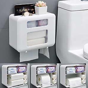 cheap Bathroom Gadgets-Toilet Paper Holder Waterproof Wall Mounted for Toilet Paper Tray Roll Paper Tube Storage Box Tray Tissue Box Shelf Bathroom