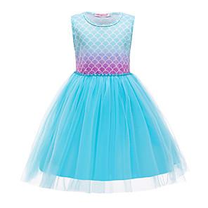 cheap Movie & TV Theme Costumes-The Little Mermaid Princess Dress Flower Girl Dress Girls' Movie Cosplay A-Line Slip Blue Dress Children's Day Masquerade Satin / Tulle