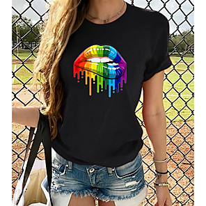 cheap Car DVD Players-Women's Rainbow Graphic T-shirt - Cotton Basic Daily White / Black / Yellow