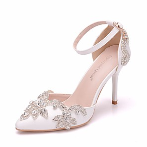 cheap Wedding Shoes-Women's Wedding Shoes Stiletto Heel Pointed Toe Rhinestone / Imitation Pearl / Buckle PU Sweet / Minimalism Spring &  Fall / Summer White / Party & Evening