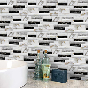 cheap Wall Stickers-20x10cmx9pcs White and Black Marble Wall Stickers Retro Oil-proof Waterproof Tile Wallpaper For Kitchen Bathroom Ground Wall House Decoration