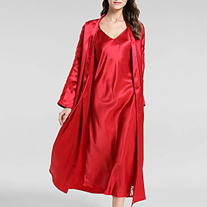 cheap Wedding Shoes-Women's Deep V Suits Pajamas Solid Colored