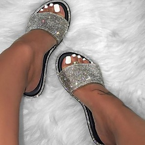 cheap Women's Sandals-Women's Slipper / Sandals Glitter Crystal Sequined Jeweled Flat Sandals Summer Flat Heel Open Toe Casual Daily Sequins PU Black / Yellow / Fuchsia