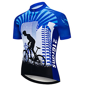 cheap Cycling Jersey & Shorts / Pants Sets-21Grams Men's Short Sleeve Cycling Jersey Black / Blue Stripes Gradient Bike Jersey Top Mountain Bike MTB Road Bike Cycling UV Resistant Breathable Quick Dry Sports Clothing Apparel / Stretchy