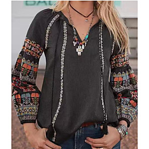 cheap Fine Jewelry-Women's Daily Shirt Floral Floral Long Sleeve Tops Boho V Neck Black Blue Yellow