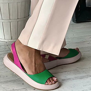 cheap Women's Sandals-Women's Sandals Flat Sandal Summer Flat Heel Round Toe Daily PU Red / Light Purple / Green