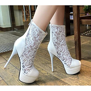 cheap Women's Boots-Women's Boots Stiletto Heel Pointed Toe PU Summer White / Black