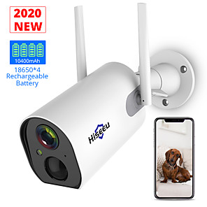 cheap Outdoor IP Network Cameras-Hiseeu C20 2 Wireless Outdoor Security IP Camera Battery Powered Rechargeable 1080P HD Enhanced WiFi Camera IP65 Waterproof PIR Alarm