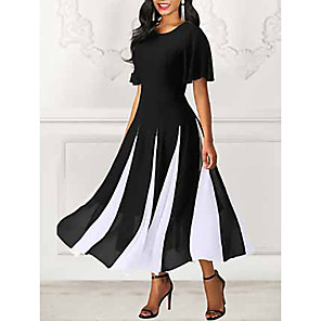 cheap Historical & Vintage Costumes-Women's Swing Dress Black & White Maxi long Dress - Short Sleeve Color Block Spring & Summer Going out 2020 Black M L XL