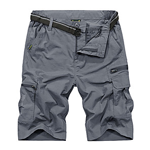 "cheap Hiking Trousers & Shorts-Men's Hiking Shorts Hiking Cargo Shorts Solid Color Summer Outdoor 12"" Loose Breathable Ventilation Ultra Light (UL) Anatomic Design Nylon Shorts Bottoms Black Army Green Dark Gray Royal Blue Camping"
