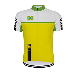 cheap Cycling Jerseys-21Grams Men's Short Sleeve Cycling Jersey Green / Yellow Brazil National Flag Bike Jersey Top Mountain Bike MTB Road Bike Cycling UV Resistant Breathable Quick Dry Sports Clothing Apparel / Stretchy