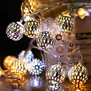 cheap LED String Lights-220V Led String Lights 5M 40LED Moroccan Ball Fairy Garland Copper Patio Lighting Strings Christmas Wedding Party Decorations