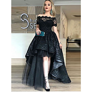 cheap Women's Heels-Ball Gown Celebrity Style Black Prom Formal Evening Dress Off Shoulder Short Sleeve Asymmetrical Lace Tulle with Tier Lace Insert 2020