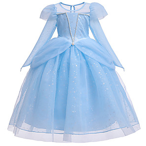 cheap Movie & TV Theme Costumes-Princess Cinderella Dress Flower Girl Dress Girls' Movie Cosplay A-Line Slip Beaded Pink / Blue Dress Halloween Carnival Masquerade Tulle Cotton