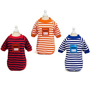 cheap Dog Clothes-Dog Shirt / T-Shirt Vest Dog Clothes Red Orange Blue Costume Husky Labrador Alaskan Malamute Cotton Stripes Casual / Daily S M L XL XXL