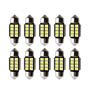 cheap Tattoo Stickers-10pcs Car led c5w led bulb CANBUS 12V Festoon 31mm 36mm 39mm 41mm c5w c10w reading lamp car Interior Light 2835 SMD white