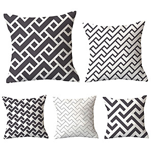 cheap Pillow Covers-5 pcs Polyester Pillow Cover, Plaid / Checkered Geometric Simple Classic Square Traditional Classic