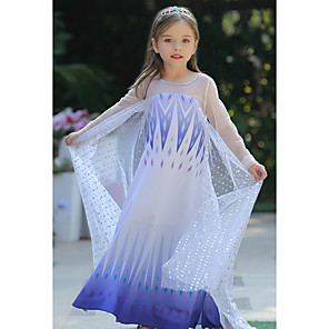 cheap Movie & TV Theme Costumes-Elsa Dress Girls' Movie Cosplay Cosplay Halloween Blue / Blue (With Accessories) Dress Halloween Carnival Masquerade Tulle Polyester Sequin