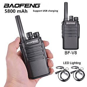 cheap Flashlights & Camping Lanterns-2PCS Baofeng BF-V8 5800 mAh Rechargeable Long Range 5W Two Way Radio Walkie Talkies 16 Channel Handheld Radio Built in LED Torch Microphone With Earpiece